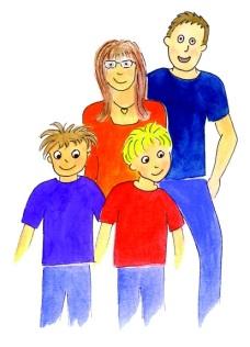 """Massimino e la sua famiglia, personaggi del libro """"L'orto dei bambini"""""""